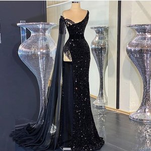 Black Sequined Prom Dresses One Shoulder High Side Split Evening Formal Wear Dubai robe de soiree Party Gowns