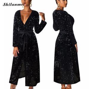 YYW Schwarz Schärpen elegante Maxi-Kleid mit Gürtel-Club-Abend-Partei Vestidos Frauen Sexy V-Ausschnitt Langarm Paillettenkleider