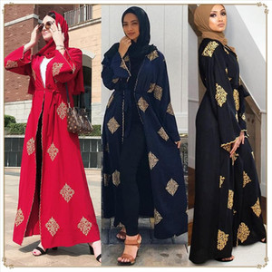 Dubai Arab Open Abaya Muslim Hijab Dress Women Kimono Lace up Kaftan Abayas Islamic Clothing Caftan Musulman Marocain Long Robe