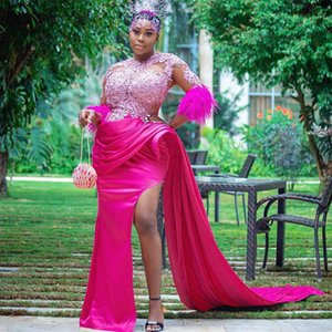 Fuchsia Side Split Mermaid Evening Dressees Half Feather Sleeve Draped Satin Prom Reception Gowns
