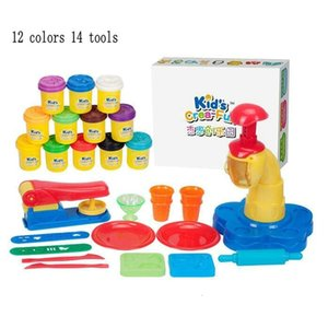 Safe 12 Colors Flour Clay DIY Cake Ice Cream Cooking Handmade 14pcs Mold Tool Kit toy