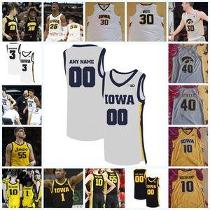 Custom Iowa Hawkeyes Joe Wieskamp Luka Garza Josh Ogundele Patrick McCaffery Kris Murray Keegan Murray Iowa Hawkeyes Jersey de basketball