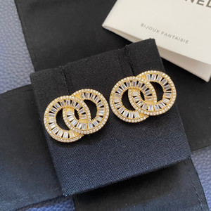 Have stamps fashion diamond hoop earrings aretes orecchini for lady Women Party wedding lovers gift luxury jewelry for Bride c with box