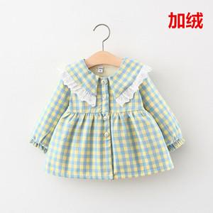 wholesale 4-year-old female baby dress plus velvet jacket grid lapel thickening skate sweater Korean version children's clothing 201130
