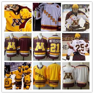 Custom Minnesota Golden Gophers Casey Mittelstadt Tyler Sheehy Brent Gates Jack Ramsey Leon Bristedt Sampo Ranta Mat Robson Hockey Jersey