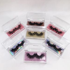 Wholesale Lashes Vendor Print Logo Acrylic Rectangle False Eyelash Packaging Box 25mm Cruelty Free Mink Eyelashes