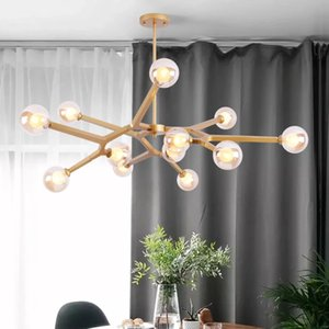 European  show room golden LED pendant light lamp modern simple Glass hanging light lamp for foyer dinning room
