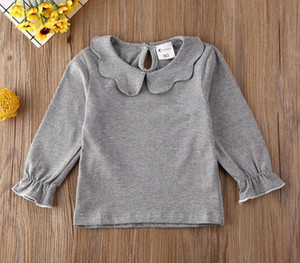 2020 New Kids Baby Girls Blouse Princess Shirts Long Sleeve Doll Collar Solid Children Tops Baby Kids Clothes Summer Spring Fall