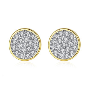 Colors Tiny Silver Gold Mini Disc Round CZ Zircon Stud Earrings For Women Minimalist Design Party Jewelry