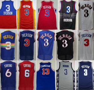 Georgetown Hoyas College Allen Iverson Jerseys 3 Uomo Basket Dr J Julius Erving 6 Wilt Chamberlain 13 Blu Nero Bianco Rosso Buona qualità