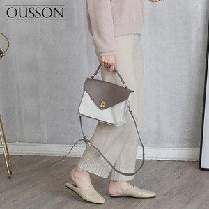 OUSSON 2020 Fashionable, lightweight and soft leather casual color-blocking one-shoulder messenger bag