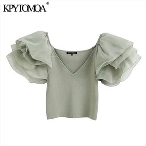 KPYTOMOA Women 2020 Fashion With Organza Knitted Cropped Blouses Vintage See Through Sleeve Stretch Slim Female Shirts Chic Tops