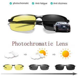 Al-mg Lega di Occhiali da sole Polarized PhotoChromic Polarized Men Chameleonchange Color Anti-Glare Glass Occhiali da sole Giorno Night Vision Driver Eyewear