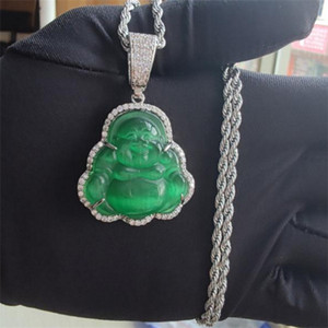 18k Gold Plated Finish Green Jade Lab Simulated Diamonds Laughing Buddha Iced Out Pendant Necklace CZ Jewelry . y662