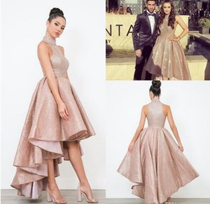 2021 Arabic Rose Gold Evening Party Gowns Full Sequined High Neck Plus Size High Low African Girls Formal Pageant Prom Dresses