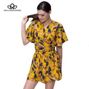 Bella Philosophy 2017 Femmes Summer Beach imprimé chemise Chemisier Set1