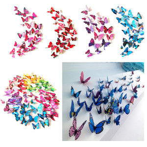 Butterfly Wall Stickers Wall Decor Murals 3D Magnet Butterflies DIY Art Decals Home Kids Rooms Decoration 12pcs lot w-00557