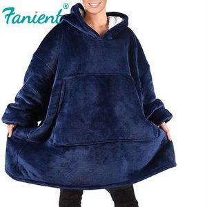 Women Blanket Sweatshirt Robe Winter Hoodies Outdoor Hooded Coats Warm Comfy Bathrobe Christmas Fleece Blankets Sudadera Mujer