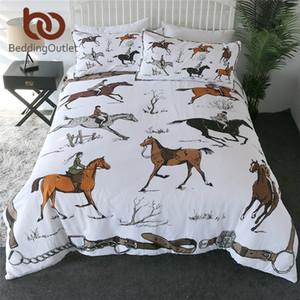 BeddingOutlet Animals Duvet Funda Conjunto King ecuestre colcha Inglaterra Tradición Caballo Montar a caballo Juego de ropa de cama Sports Ropa 20114