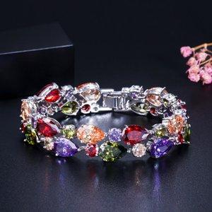 Luxury Woman Bracelet Best Quality Colourful Full Diamond Bracelet Micro Cubic Zirconia Copper Plating Fashion Copper Set Diamond 19cm
