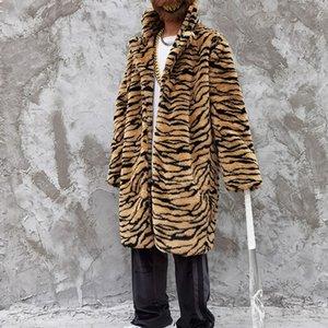 4XL Plus Size Leopard Cappotto di pelliccia lungo Uomini e donne Oversize Giacca a vento Giacca a vento Parka Giacca invernale casual allentata