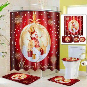 Merry Christmas Bathroom Set Christmas Golden Snowman Pattern Waterproof Shower Curtain Toilet Cover Mat Non Slip Home Decor Z1127