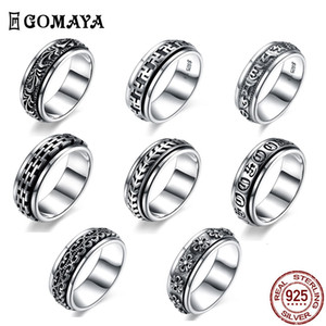 Gomaya 925 anillos de plata esterlina spin talla flor gótico vintage roca punk anillo punk para hombres y mujeres bruiloft joyería fina