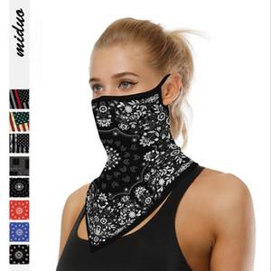 Adult unisex Scarf Face Mask cycling US Flag printing Handkerchief Outdoor Windproof Half Scarf Masks Earhook Triangle Scarf YYA585