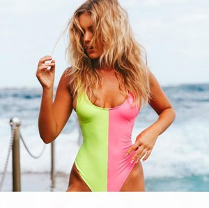 One Piece Swimsuit 2018 New Plus Size Swimwear Women Vintage Retro Bathing Suits Female Monokini Backless Swim Suit Bodysuit Patchwork Color