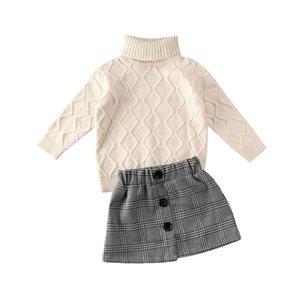 가을 겨울 아이 아기 소녀 옷 Turtleneck 니트 스웨터 탑스 + 격자 무늬 인쇄 미니 스커트 복장 Y200525
