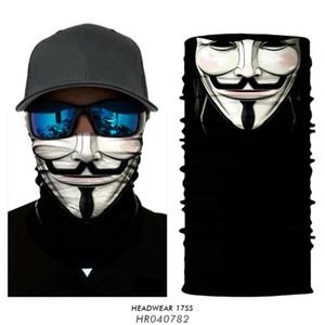 V for Vendetta Cycling Bandana Magic Neck Gaiter Anonymous Headband Moto Face Mask Sports Anarchy Tube Scarf Balaclava Buff Mask