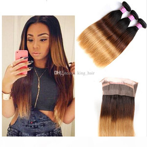 Honey Blonde #1B 4 27 Straight Human Hair Bundles With 360 Full Lace Band Frontal With Baby Hair 4Pcs Lot
