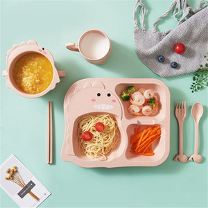 Baby Dinosaur Tableware 6 Piece Set Kids Dinner Plate Food Grade Fork Cup Food Supplement Drop-resistant Children Feeding Dishes