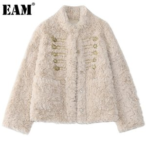 [EAM] Loose Fit Fur Big Size Short Warm Jacket New Stand Collar Long Sleeve Women Coat Fashion Tide Autumn Winter 2021 1DD1830