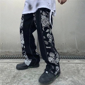 Cashew Print Patchwork Jeans Pants Men and Women Streetwear Straight Washed Harajuku Denim Trousers Loose Ripped Jeans for Men #UI6L