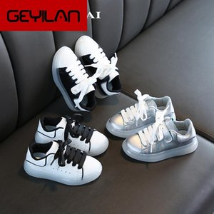 Children Sneakes White Shoes Spring 2020 New Girl boy Casual Shoes Jelly Soft Platform Sneakers For Children Sliver Shoe