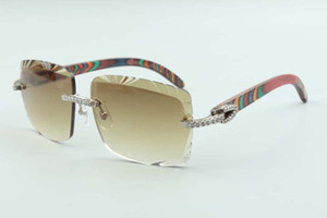 2021 Newest style Best-selling cutting lens medium diamonds sunglasses 3524020, peacock wooden temples glasses, size: 58-18-135mm