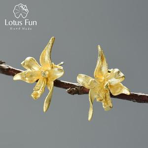 Lotus Fun Elegant Iris Цветочные серьги-гвоздики Реал 925 Стерлинговые серебро 18K Золотые Серьги для Женщин Ручной Дизайнер Художественные Украшения