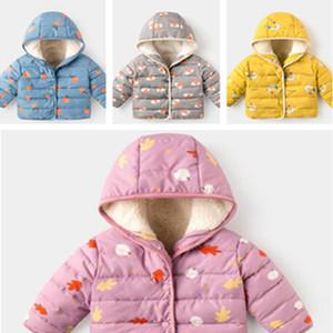Дети зимы хлопка ватник Младенцы младенца мультфильм пальто Hood Hat с капюшоном Puffer куртки и пиджаки руно Подкладка Теплый Wadded Куртки LY111702