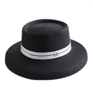 Yaz Rahat Güneş Şapkaları Kadınlar Için Moda Fransız M Logo Hepburn Hasır Şapka Kadınlar için Plaj Güneş Hasır Panama Şapka