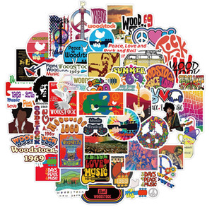 50 PCS Car Stickers Woodstock Music Festival For Skateboard Laptop Helmet Pad Bicycle Bike Motorcycle PS4 Notebook Guitar PVC Fridge Decal