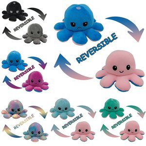 Cute Flip Cartoon Reversible Octopus Stuffed Doll Double-Sided Simulation Soft Plush Toy For Children Baby Kids Birthday Gift