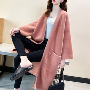 Cardigan Coat Womens Knitted 2020 Autumn and Winter Loose Outer Wear Solid Color Pocket Long Sleeve V-neck Mid-Length Womens Sweater