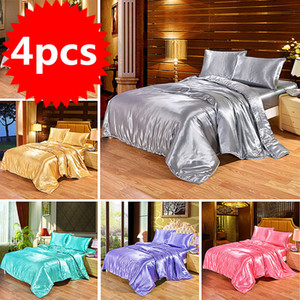 4pcs Luxury Silk Bedding Set Satin Queen King Size Bed Set Comforter Quilt Duvet Cover Linens with Pillowcases and Bed Sheet 201102