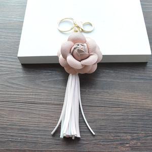 Tassel Camellia مفتاح سلسلة جيدة A ++ حقيبة بو قلادة سيارة مفتاح حلقة الهاتف شل الديكور KR307 الحلي ميكر ترتيب 20 قطعة