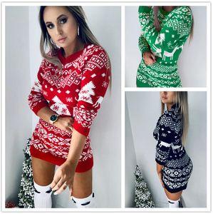 Женский свитер платье дизайнер рождественские тема с длинным рукавом о-образным вырезом мода осень зима стройная одежда женские повседневные вязаные свитер платье