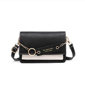 Contrast Color Flap bag for Women Metal Ring Chain Sling Purse Crossbody Shoulder Bags Pack Small Chic purse