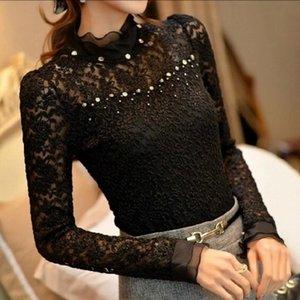 Mulheres Crochet Blusa Femininas Ruffled Pescoço Lace Sheer Camisas Vestidos Blusas Tops Plus Size 5XL Y200402