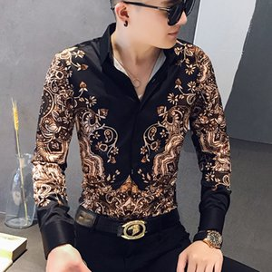 2020 Casual New Dressed in Fine Fashion for Floral Shirts at the Prom High-quality Tuxedos Men's Shirt Long Sleeves 95r7