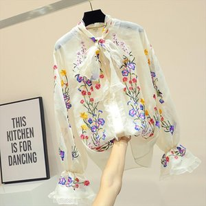 Embroidery Flower Shirt Womans Korean Bow Knot Shirts Female New Fashion Horn Sleeve Chiffon Blouse 2019 Spring Tops Girls